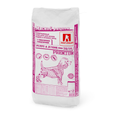 Мясной рацион/Полнорационный сухой корм для щенков средних и крупных пород с глюкозамином и хондроитином Puppy&Junior 28/16, 15кг
