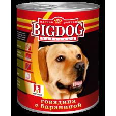 Влажный корм для собак БигДог (BigDog), Говядина с бараниной, 850г