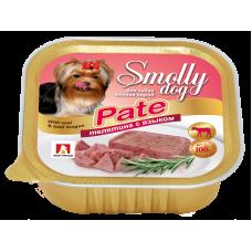 Влажный корм для собак СмоллиДог патэ (Smolly dog pate), Телятина с языком, 100г