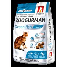Полнорационный сухой корм для взрослых кошек Zoogurman, Океаническая рыба/Ocean fish, 0.35кг